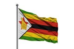Flaga Zimbabwe falowanie w wiatrze, odosobniony biały tło Mieszkaniec Zimbabwe flaga zdjęcie royalty free