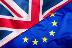 Flaga Zjednoczone Królestwo i Europejski zjednoczenie UK flaga i UE flaga brytyjczycy bandery europejskiej jacka Zdjęcie Royalty Free