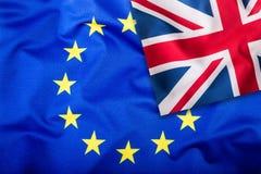 Flaga Zjednoczone Królestwo i Europejski zjednoczenie UK flaga i UE flaga brytyjczycy bandery europejskiej jacka Flaga inside gwi Zdjęcia Stock