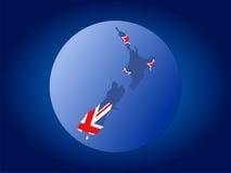 flaga zostanie opuszczona Do mapy nowej kuli Obraz Royalty Free