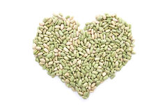 Flageolet beans in a heart shape Royalty Free Stock Image