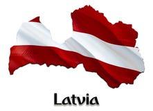 Flaggaöversikt av Lettland 3D som framför den Lettland översikten och flaggan Det nationella symbolet av Lettland Nationellt vink royaltyfri illustrationer