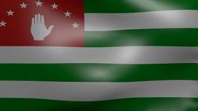 Flagga Abchazien för stark vind stock video