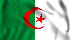 Flagga Algeriet som vinkar i vinden stock illustrationer