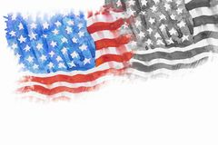 Flagga av Amerika som Hand-dras, vattenfärgmålning Royaltyfri Foto