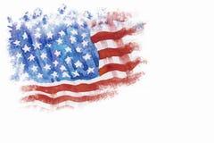 Flagga av Amerika som Hand-dras, vattenfärgmålning Royaltyfria Bilder