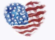 Flagga av Amerika som Hand-dras, vattenfärgmålning Fotografering för Bildbyråer