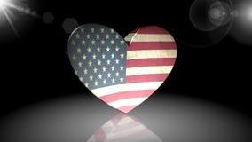 Flagga av Amerika, symbol, tecken, 3D illustration, animering lager videofilmer