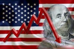 Flagga av Amerikas förenta stater med framsidan av Benjamin Franklin royaltyfria foton