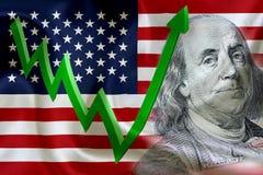 Flagga av Amerikas förenta stater med framsidan av Benjamin Franklin Royaltyfri Fotografi