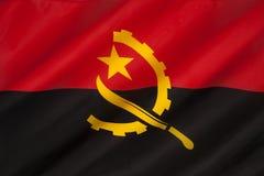 Flagga av Angola - Afrika Arkivbilder
