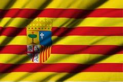 Flagga av Aragon Arkivbild