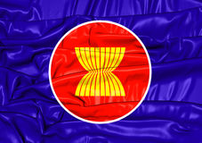 Flagga av ASEAN stock illustrationer
