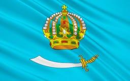 Flagga av astrakan Oblast, rysk federation Stock Illustrationer