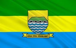Flagga av Bandung, Indonesien vektor illustrationer