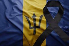 Flagga av Barbados med det svarta sörjande bandet Royaltyfri Fotografi