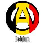 Flagga av Belgien av världen i form av ett tecken av anarki royaltyfri illustrationer