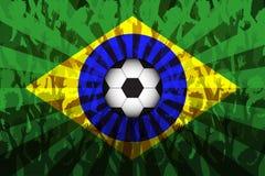 Flagga av Brasilien över stöttande fans Royaltyfria Foton