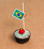 Flagga av Brasilien Apple, muffin Arkivbild