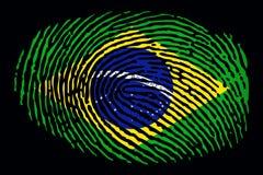 Flagga av Brasilien i form av ett fingeravtryck på en svart bakgrund royaltyfri illustrationer