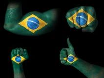 Flagga av Brasilien som målas på kroppsdelar Arkivbilder