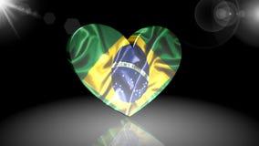 Flagga av Brasilien, symbol, tecken, 3D illustration, animering lager videofilmer