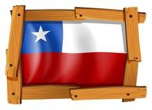 Flagga av Chile i träram Royaltyfri Bild