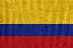 Flagga av Colombia på gammal linne Royaltyfri Fotografi