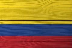 Flagga av Colombia på träväggbakgrund Colombiansk flaggatextur för Grunge royaltyfria foton