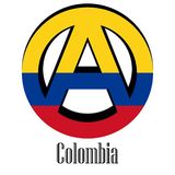 Flagga av Colombia av världen i form av ett tecken av anarki vektor illustrationer