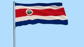Flagga av Costa Rica på en flaggstång som fladdrar i vinden på en genomskinlig bakgrund, 3d tolkning, PNG-format med ALFABETISKtr