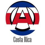 Flagga av Costa Rica av världen i form av ett tecken av anarki stock illustrationer