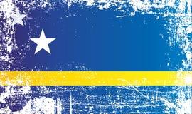 Flagga av Curacao, kungarike av Nederländerna Rynkiga smutsiga fläckar stock illustrationer