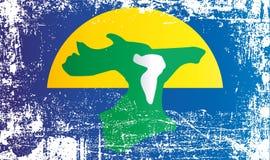 Flagga av de Chatham öarna, Nya Zeeland Rynkiga smutsiga fläckar stock illustrationer