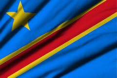 Flagga av demokratiska Republiken Kongo Arkivfoton