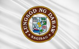 Flagga av den Davao staden, Filippinerna stock illustrationer