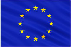Flagga av den europeiska unionen på vit Arkivbild