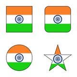 Flagga av den Indien symbolsuppsättningen royaltyfri illustrationer