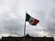 flagga av den mexicanska republiken som i höjden vinkar med vinden royaltyfria bilder