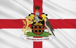Flagga av den storstads- staden av den Wigan staden, England stock illustrationer