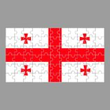 Flagga av det Georgia pusslet på grå bakgrund stock illustrationer