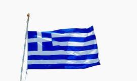 Flagga av det Grekland flyget i vind Fotografering för Bildbyråer