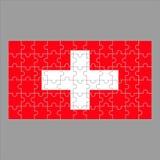 Flagga av det Schweiz pusslet på grå bakgrund stock illustrationer