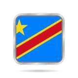 Flagga av DR Congo Metallisk grå färgfyrkantknapp Arkivfoto
