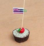 Flagga av en Hawaii på muffin Royaltyfri Bild