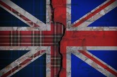 Flagga av England med texturen av Skottland fotografering för bildbyråer