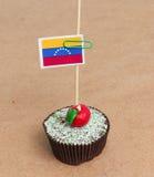 Flagga av ett Venezuela på muffin Royaltyfria Bilder