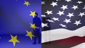 Flagga av Europa bredvid flaggan av Förenta staterna och två män vektor illustrationer