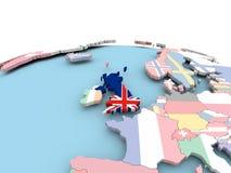 Flagga av Förenade kungariket på det ljusa jordklotet vektor illustrationer