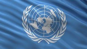 Flagga av Förenta Nationerna - sömlös ögla stock video